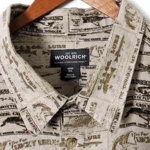 WOOLRICH Button Up Fishing Shirt Kelp Tonal Fish